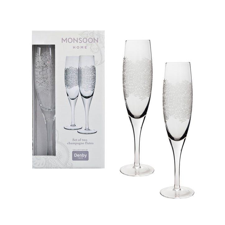 Filigree Set of 2 Champagne Flutes, 225ml
