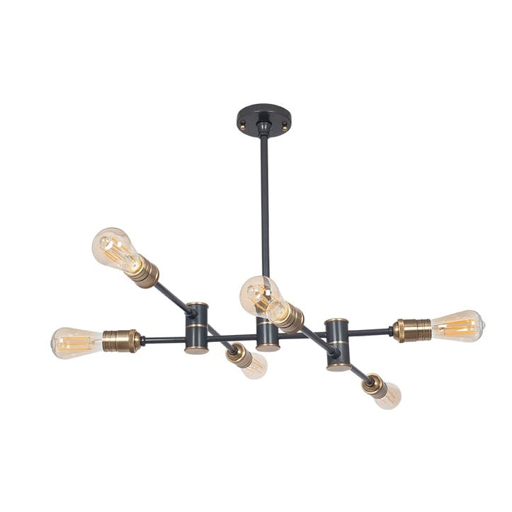 Aquila Five Light Pendant; Black & Brass