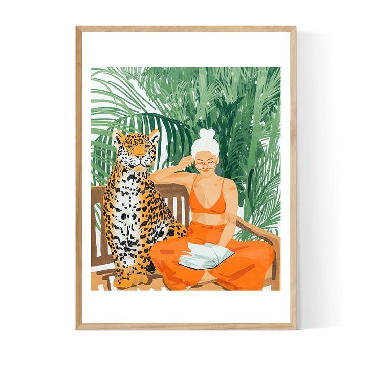 83 Oranges, Jungle Vacay, Framed Art Print, H52 x W72 x D2cm, Beige/ Natural