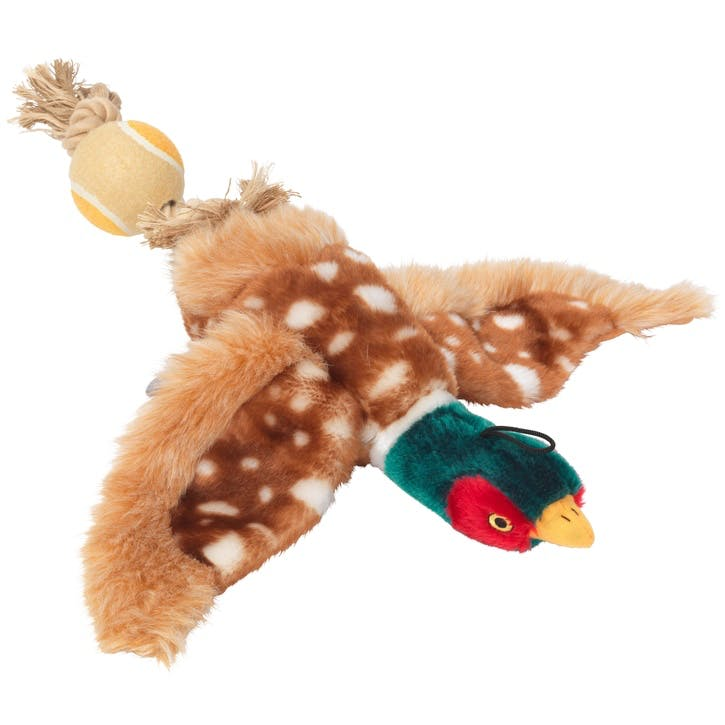 Plush Pheasant Tennis Ball Dog Toy