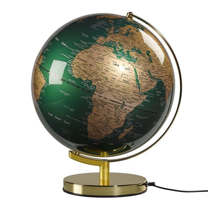 """Globe Light 12"""", Fir Green & Brass"""