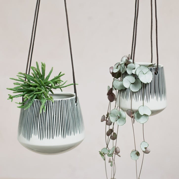 Matamba Ceramic Hanging Planter - Small; Lines