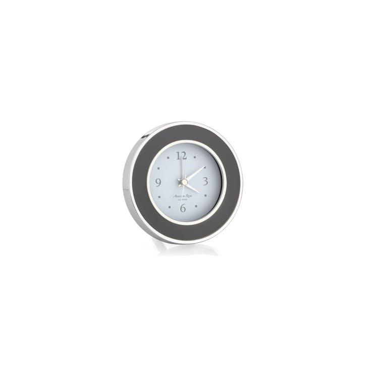 Alarm Clock; Taupe & Silver