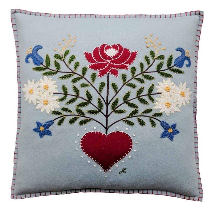 Alpine Rose Square Cushion, 46 x 46cm, Duck Egg Blue