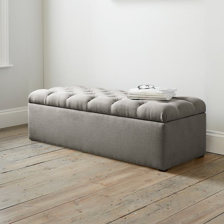 Richmond Cotton Ottoman, Grey