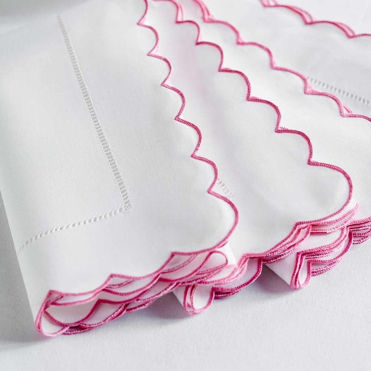 Pink Scallop Hand Embroidered Napkins, Set of 4