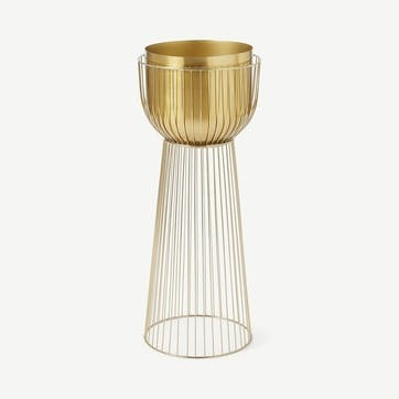 Carole, Large Planter with Stand, Brass