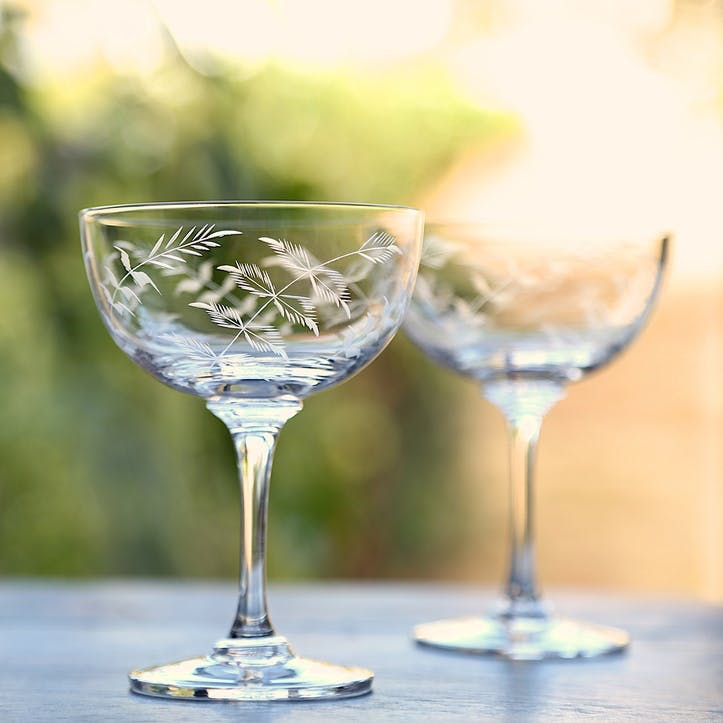 Ferns Crystal Champagne Coupes, Set of 6