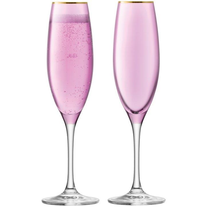 Sorbet Set of 2 Champagne Flutes; Rose
