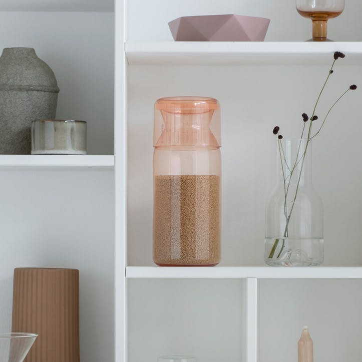Storage Jar with Measuring Cup, Clay Pink