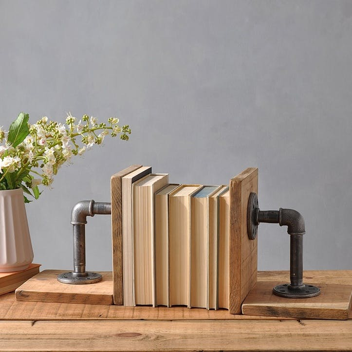 Industrial Wood And Steel Bookends, Set of 2 - 22 x 19cm; Natural