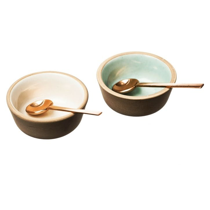 Stoneware and Copper Spoon Condiment Set