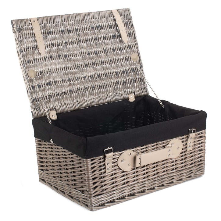 "20"" Antique Wash Hamper with Black Lining"