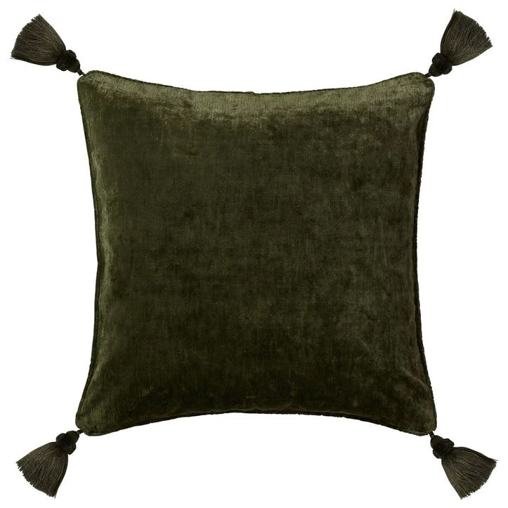 Textured Linen Velvet Cushion Cover with Tassels, Spruce