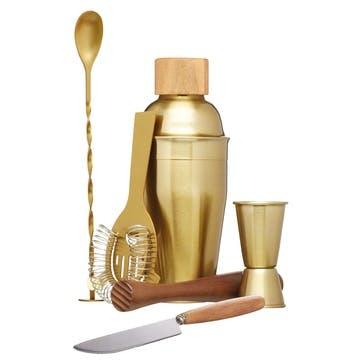 Brass Six Piece Cocktail Set
