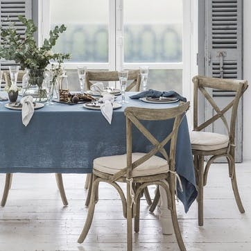 Mitered Hem Tablecloth, Parisian Blue, 160 x 275cms