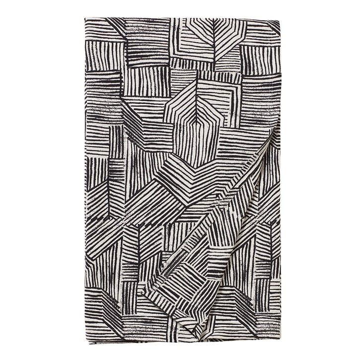 Lino Woven Throw, Black & White