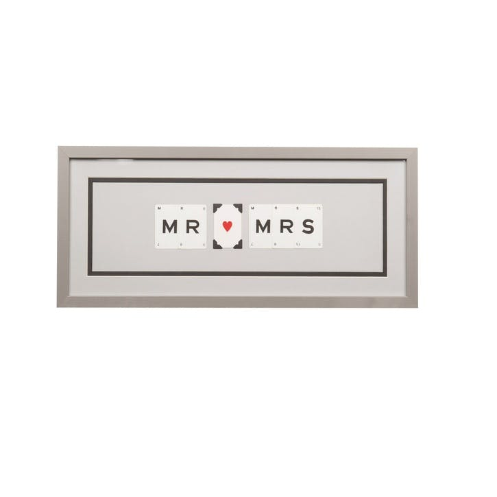 'Mr & Mrs' Word Frame, Grey