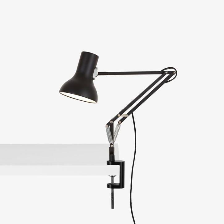 Type 75 Mini Lamp with Desk Clamp, Jet Black