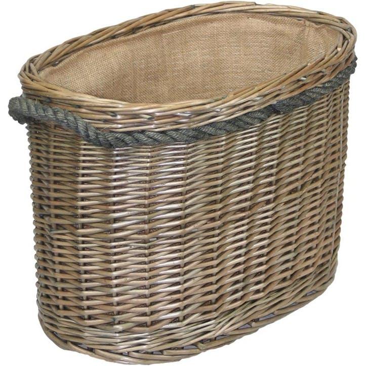 Oval Rope Handled Log Basket, Medium