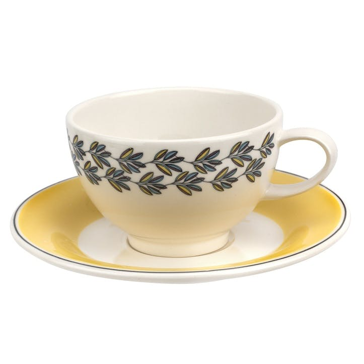 Westerly Tea Cup & Saucer, Set of Four - 8oz; Yellow Band