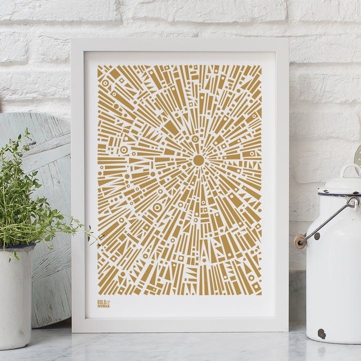 'Morning Light' Geometric Screen Print, A4, Bronze