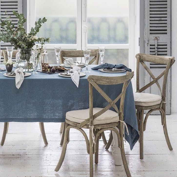 Mitered Hem Tablecloth, Parisian Blue, 160 x 325cms