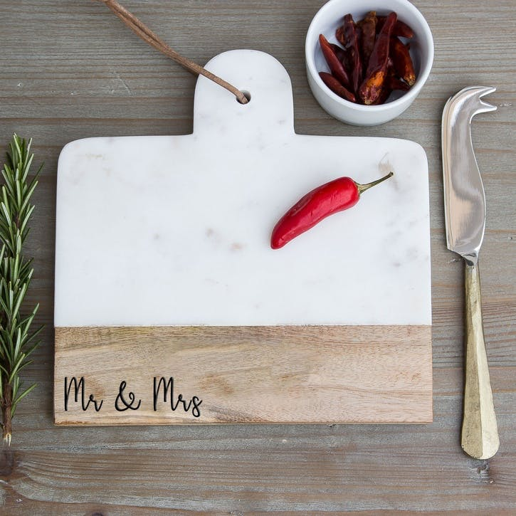 """Mr and Mrs"" Engraved Marble Cheese Board"