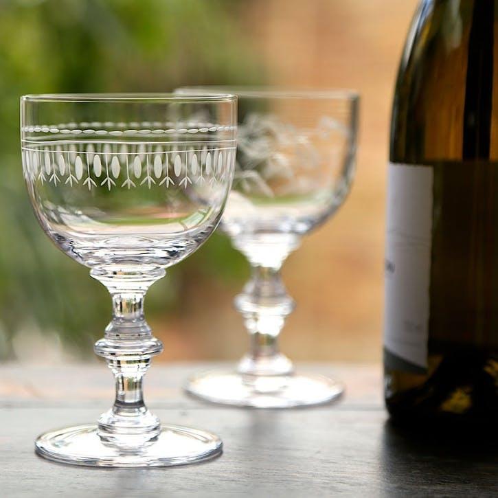 Oval Patterned Crystal Wine Goblets, Set of 6