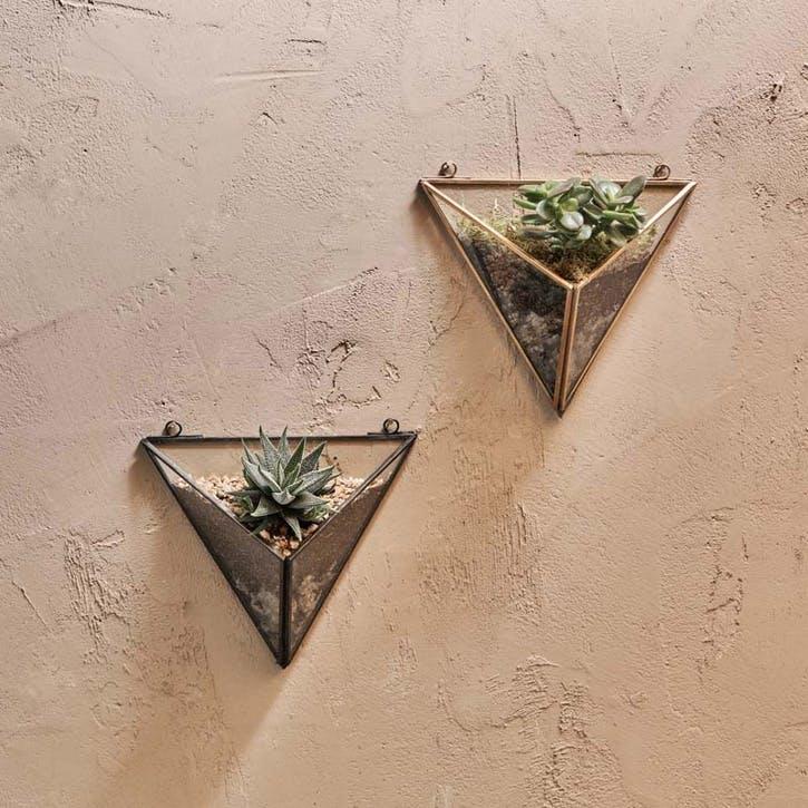 Karana Wall Hung Planter - Triangle; Antique Brass