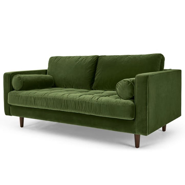 Scott Cotton Velvet Sofa - 2 Seater; Grass Green