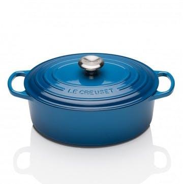 Cast Iron Oval Casserole - 25cm; Marseille Blue