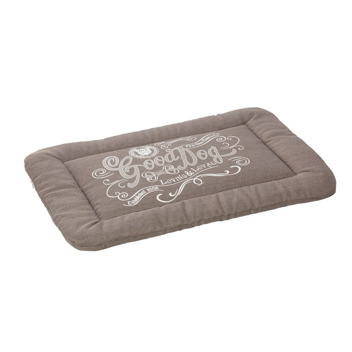 House Of Paws Good Dog Linen Crate Mat - Large; Grey