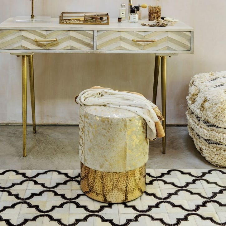 Gold Cowhide Vanity Stool