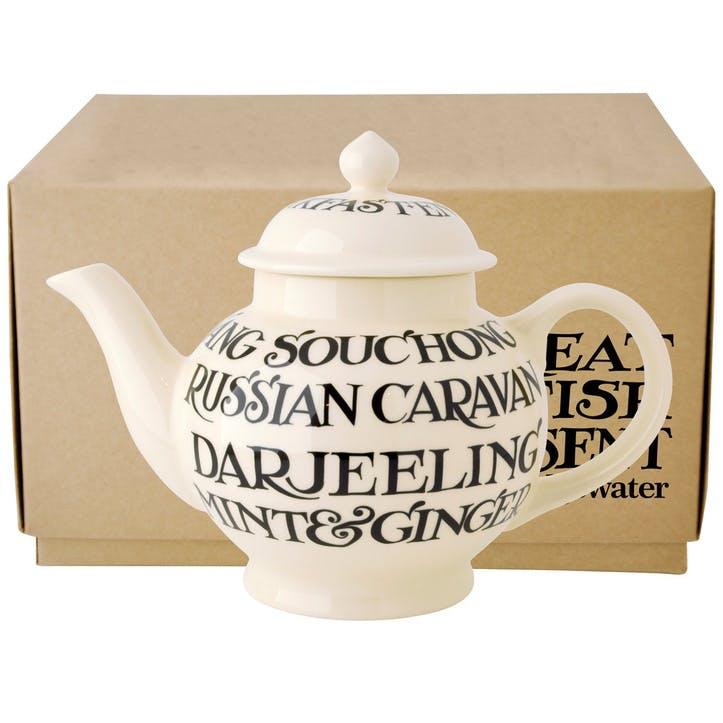 Black Toast All Over 4 Mug Teapot Boxed, 27cm