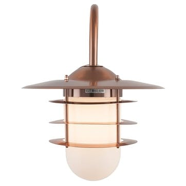 Hanging Outdoor Wall Light; Copper & Glass