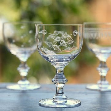 Ferns Crystal Wine Goblets, Set of 6