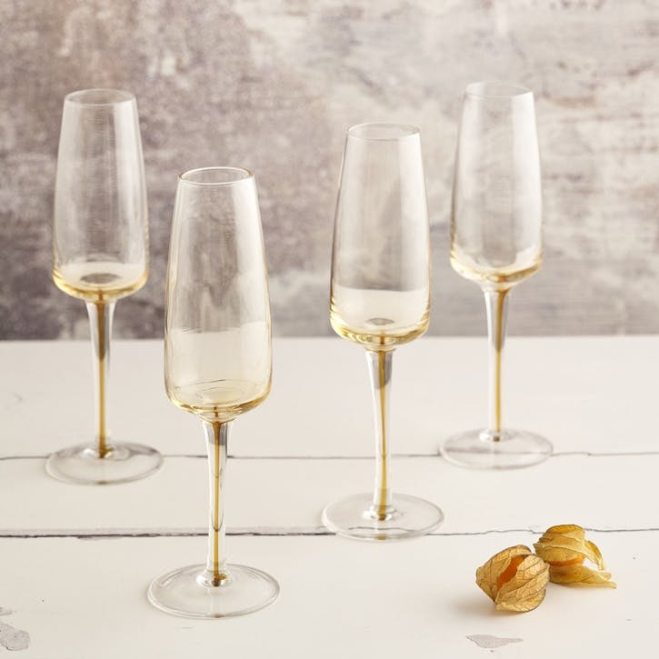 Amber Champagne Flute, Set of 4