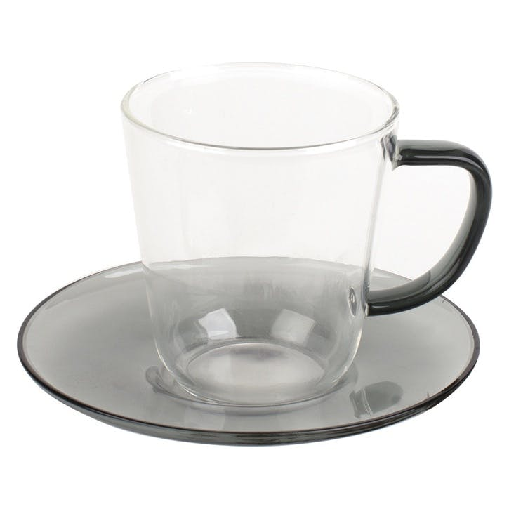 Glass Teacup and Saucer, Grey