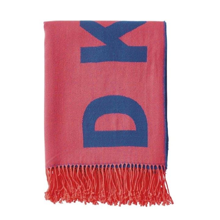 Woven Engineered Throw, Royal & Coral