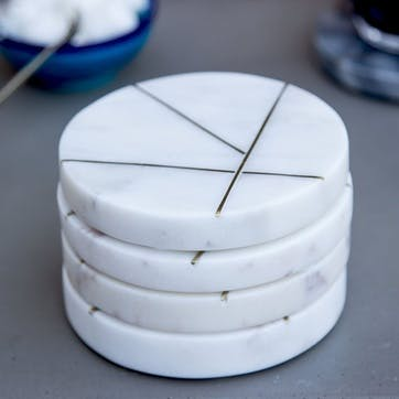 Marble Coasters With Brass Insert Detailing, Set of 4, White