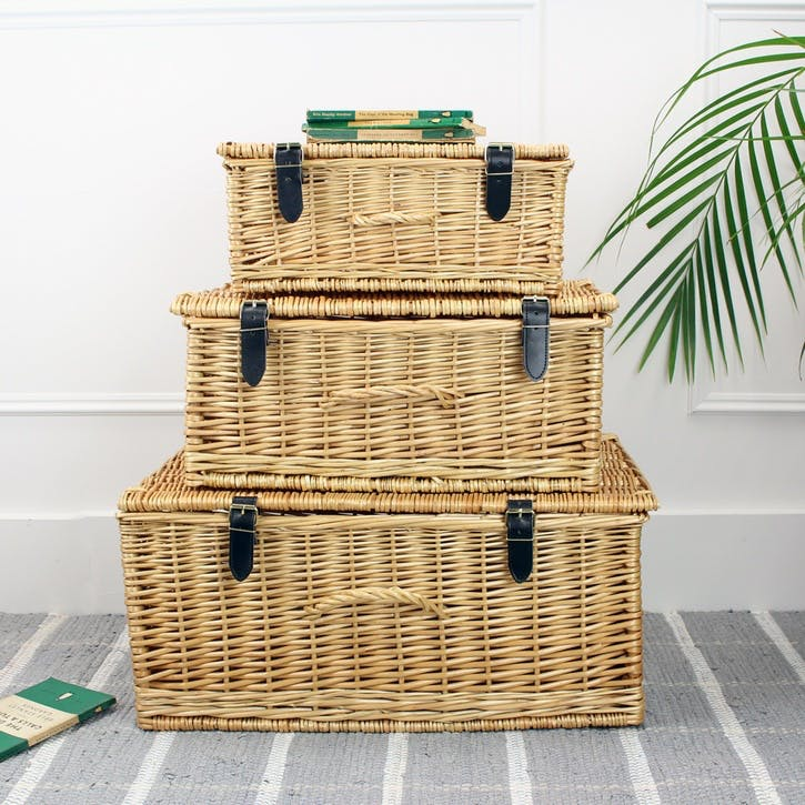 Set Of 3 Wicker Hampers; Natural