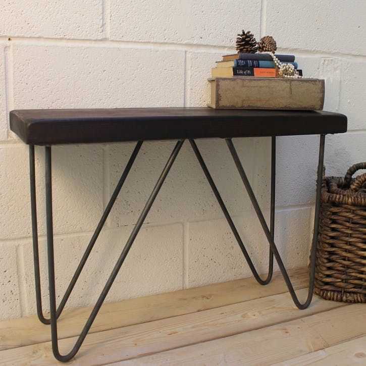 Industrial Style Wood And Steel Bench - 76 x 29.5cm; Dark Finish