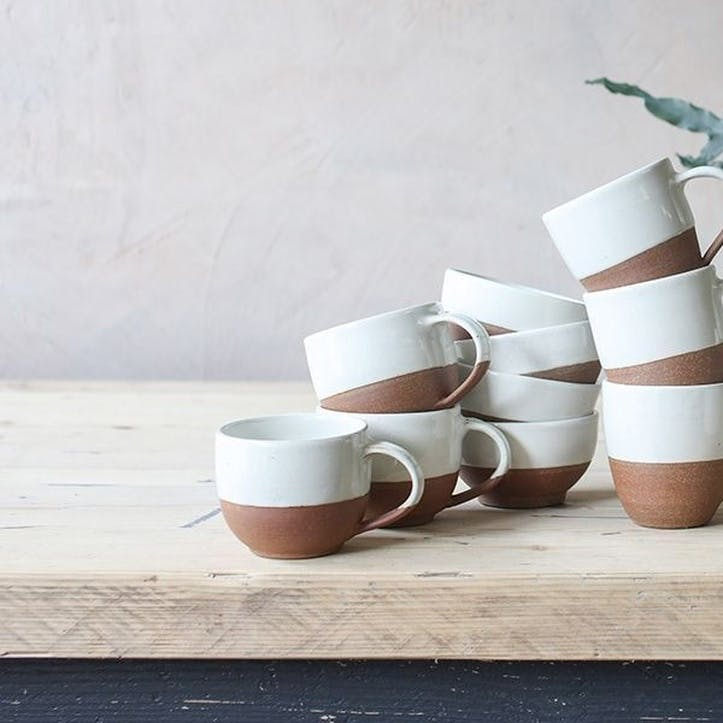 Mali Coffee Mug; White and Terracotta