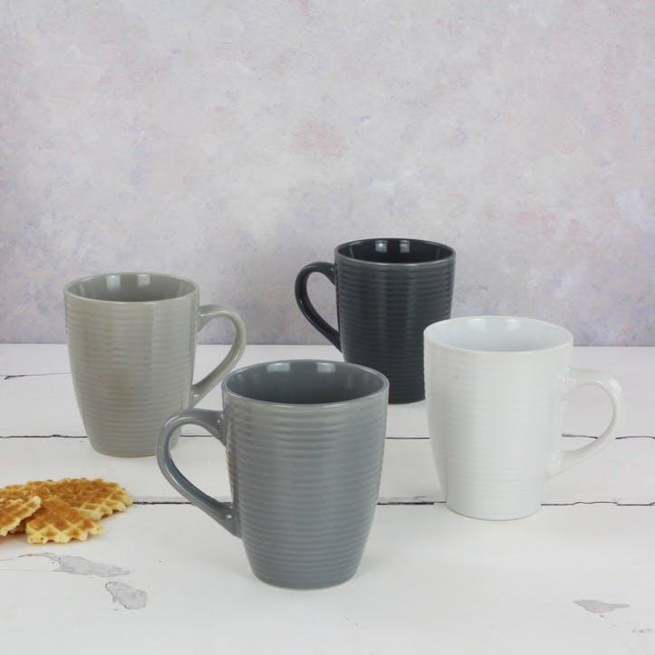 Textured Grey Mugs, Set of 4