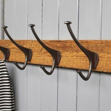 Reclaimed Wood 4 Hook Top Hat And Coat Hook - 60 x 15cm; Natural