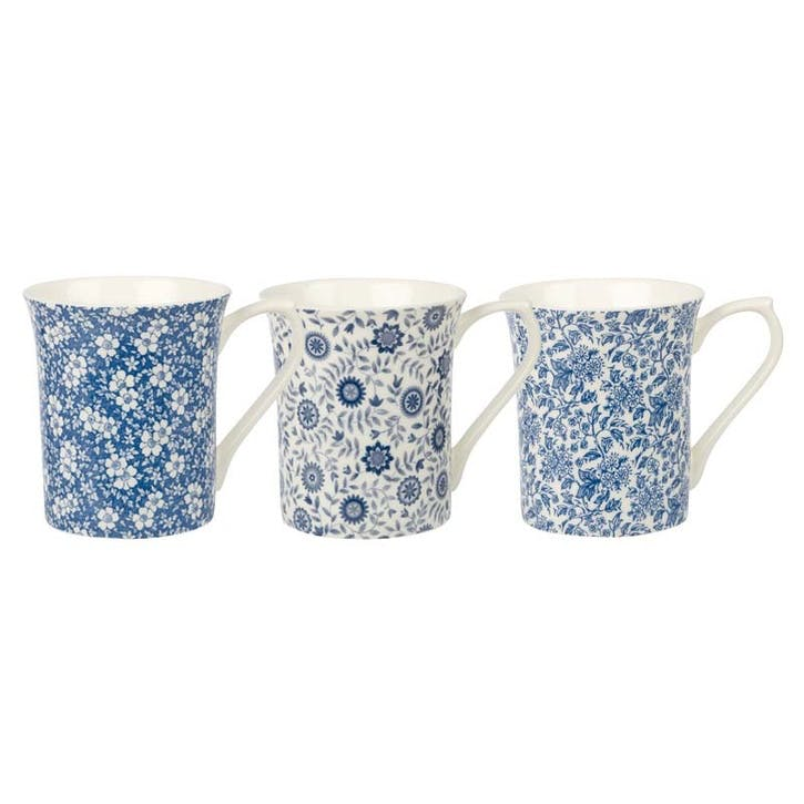 Queens Blue Story Royale Mugs, Set of 6, Pattern 1