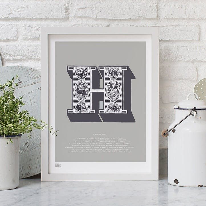 Illustrated Letter H Screen Print, 30cm x 40cm, Putty