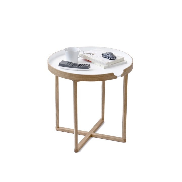 Damien Round Tray Table, White