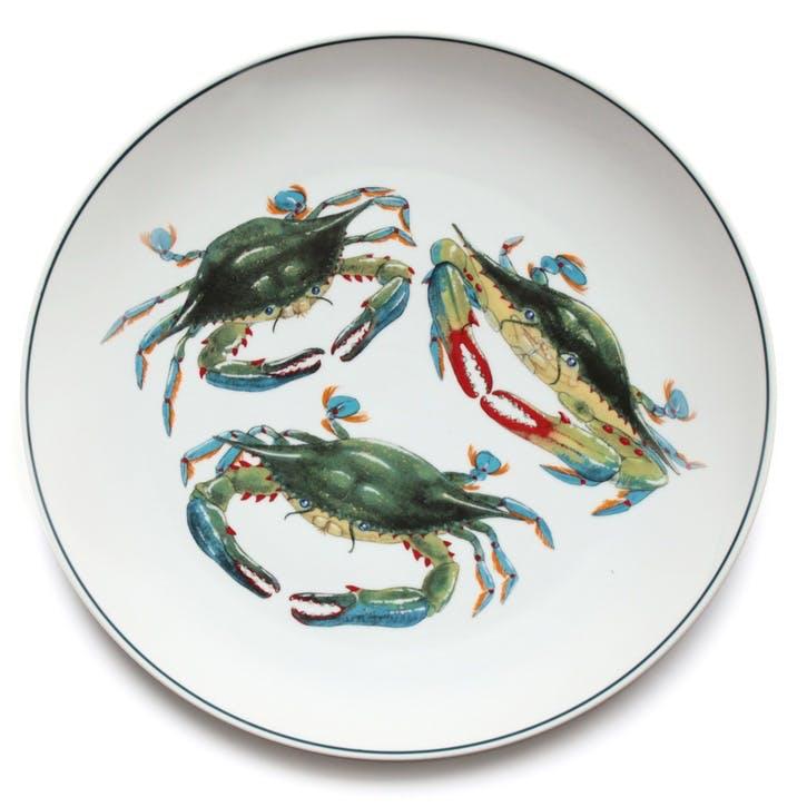 Seaflower Blue Crab Charger Platter, 32cm, Blue